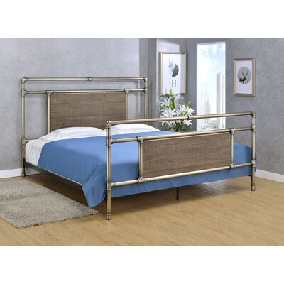 Letson Open-Frame Headboard Size: King, Color: Antique Brass