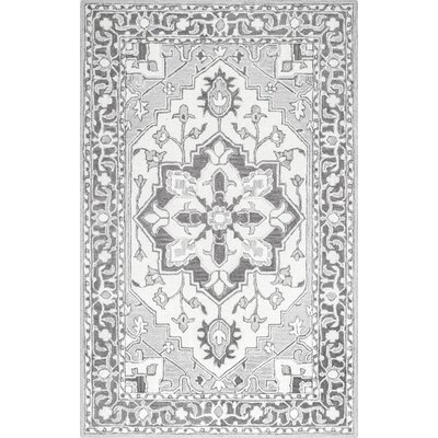 Chaplin Hand-Tufted Wool Gray Area Rug Rug Size: Rectangle 76 x 96