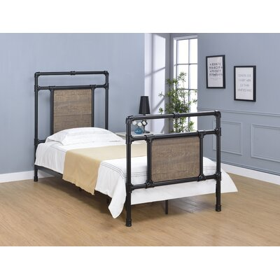 Letson Metal Open-Frame Headboard Size: Twin, Color: Matte Black