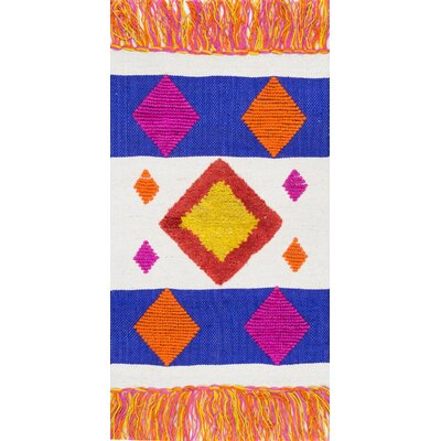 Duong Hand-Woven Blue/Orange Area Rug Rug Size: Rectangle 2 x 3