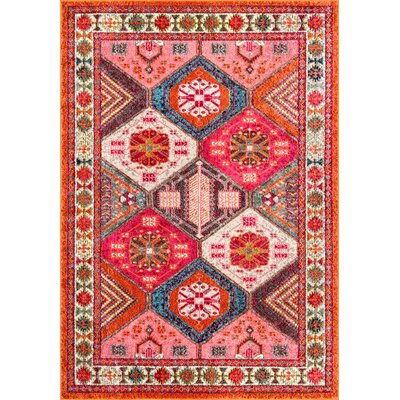 Chaim Red/Orange/Brown Area Rug Rug Size: Rectangle 53 x 77