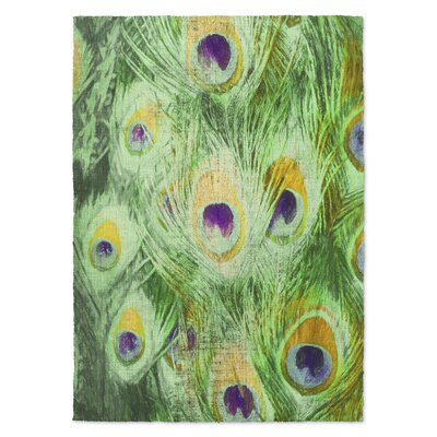 Dylan Feather Green Area Rug Rug Size: Rectangle 3 x 5