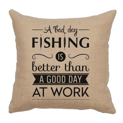 Neale Fishing Day Throw Pillow Color: Natural
