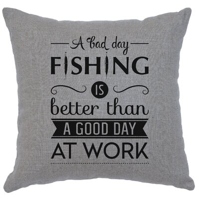 Neale Fishing Day Throw Pillow Color: Gray