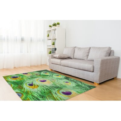 Dylan Feather Green Area Rug Rug Size: Rectangle 5 x 7