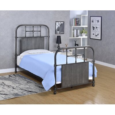 Castellanos Metal Open-Frame Headboard Size: Twin, Color: Antique Black