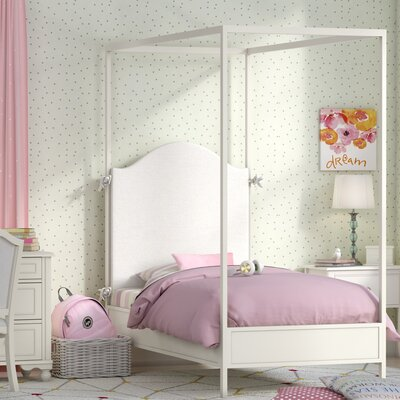 Otto Metal Canopy Bed Size: Twin, Color: Ivory
