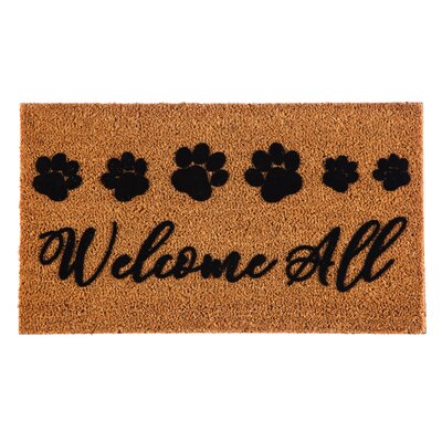 DeLussey Welcome All Paw Prints Coir Doormat