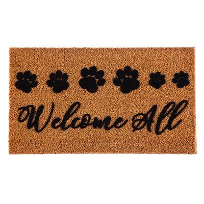 DeLussey Welcome All Paw Prints Coir Doormat