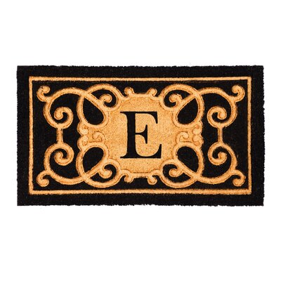 Columbard Debossed Monogram Coir Doormat Letter: E
