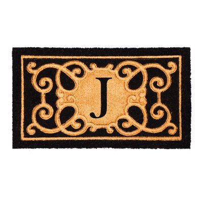 Columbard Debossed Monogram Coir Doormat Letter: J