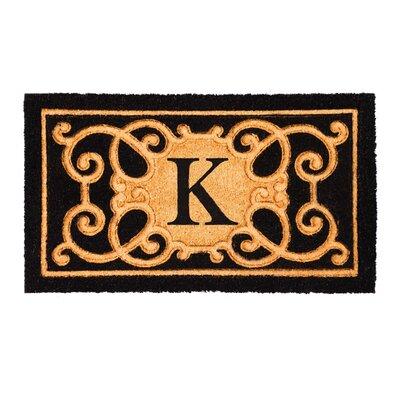 Columbard Debossed Monogram Coir Doormat Letter: K