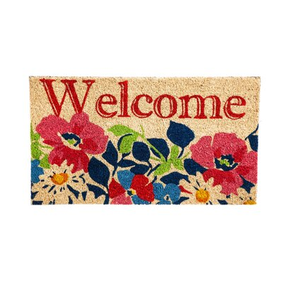 DeLussey Welcome Floral Coir Doormat