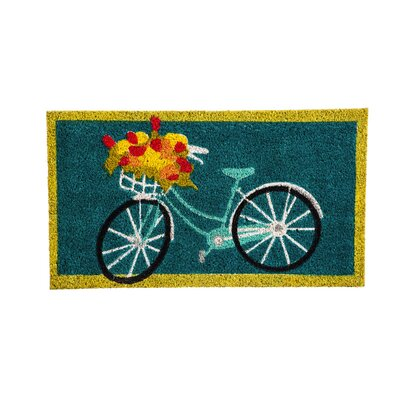 DeLussey Bicycle and Flowers Coir Doormat