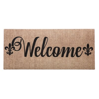 Ceron Burlap Welcome Fleur de Lis Sassafras Switch Doormat