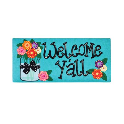 Borrero Welcome Yall with Polka Dot Flowers Sassafras Switch Doormat