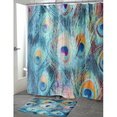 Dylan Feather Shower Curtain Color: Blue, Size: 70 H x 90 W