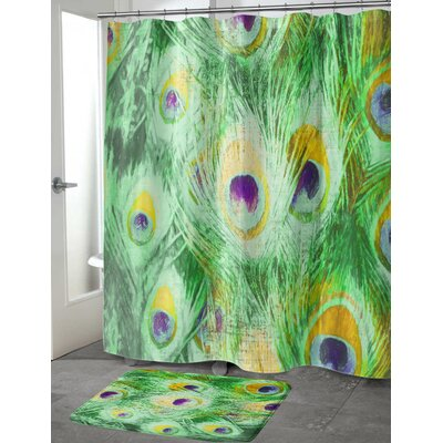 Dylan Feather Shower Curtain Color: Green, Size: 70 H x 90 W