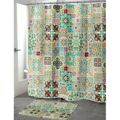 Chrisman Tile Shower Curtain Color: Green, Size: 70 H x 90 W
