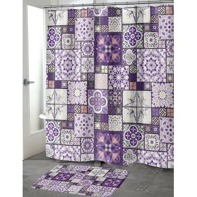 Chrisman Tile Shower Curtain Color: Purple, Size: 70 H x 90 W