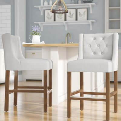 Sixtine 24 Bar Stool Upholstery: French Beige