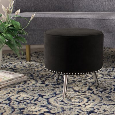Alecia Modern Design Metal Frame Ottoman Finish: Steel, Upholstery: Black