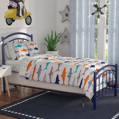 Kristy Complete Kids Panel Bed Size: Full, Color: Cadet Blue