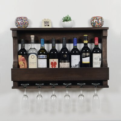 Outland 6 Bottle Wall Mounted Wine Glass Rack Finish: Dark Brown