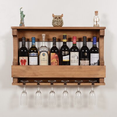 Outland 6 Bottle Wall Mounted Wine Glass Rack Finish: Natural
