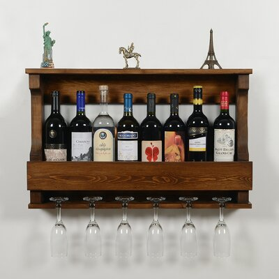 Outland 6 Bottle Wall Mounted Wine Glass Rack Finish: Brown