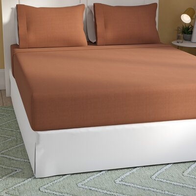 Rylee Soft Brushed Sheet Set Color: Brown, Size: Queen
