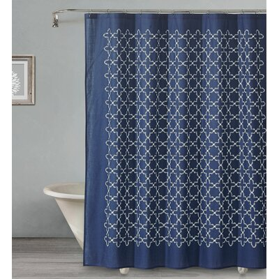 Almanza Tile Cotton Shower Curtain Color: Navy