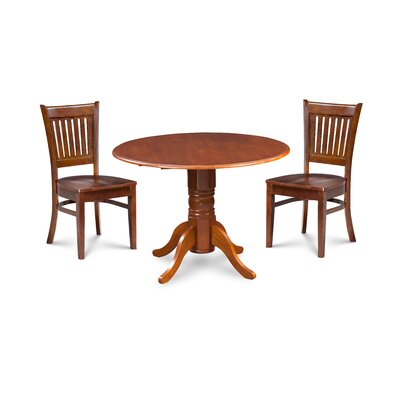 Miriam Solid Wood 3 Piece Drop Leaf Breakfast Nook Dining Set Color: Brown