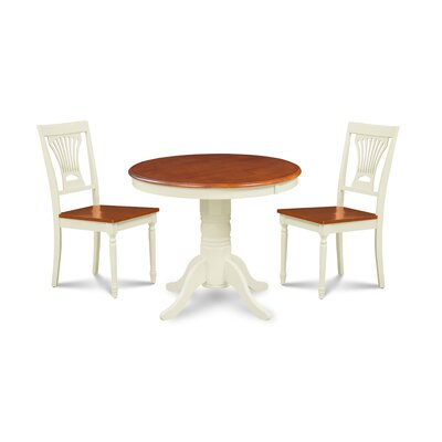 Almaraz 3 Piece Breakfast Nook Dining Set Color: White/Cherry