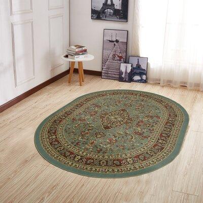 Mathew Persian Heriz Oriental Design Seafoam Area Rug Rug Size: Oval 5 x 66