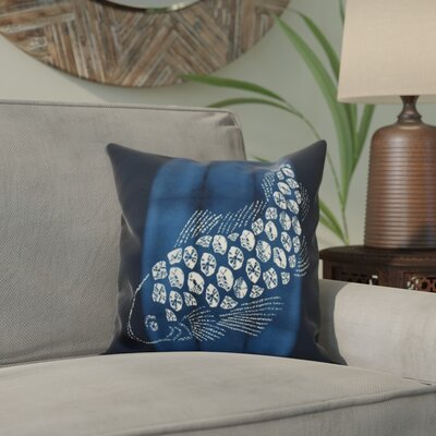 Viet Fish Pool Indoor/Outdoor Throw Pillow Size: 18 H x 18 W, Color: Navy Blue