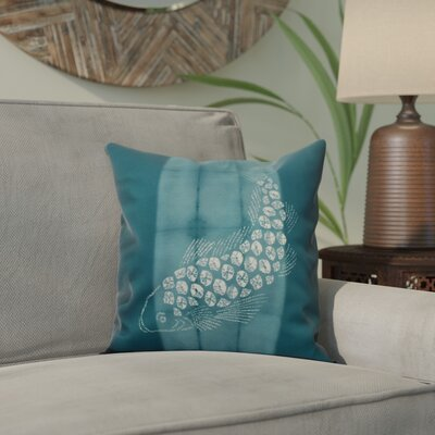 Viet Fish Pool Throw Pillow Size: 16 H x 16 W, Color: Teal