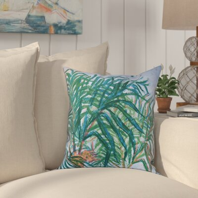 Jacque Palms Floral Print Outdoor Throw Pillow Size: 20 H x 20 W, Color: Navy Blue