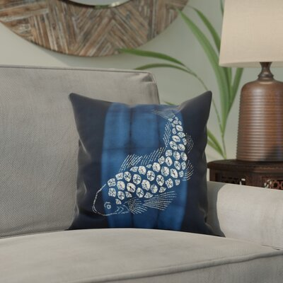 Viet Fish Pool Throw Pillow Size: 16 H x 16 W, Color: Navy Blue