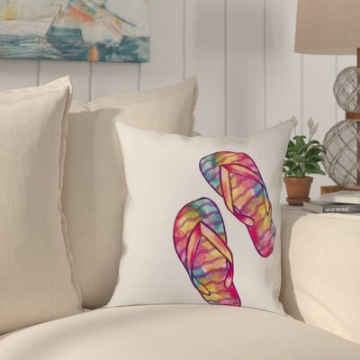 Jacque Rainbow Flip Flops Geometric Print Outdoor Throw Pillow Size: 20 H x 20 W, Color: White