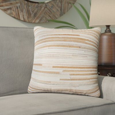 Graham Leather Throw Pillow Color: Beige