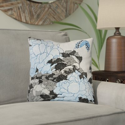 Clair Peonies and Butterfly Outdoor Square Throw Pillow Size: 18 H x 18 W, Color: Gray/Blue