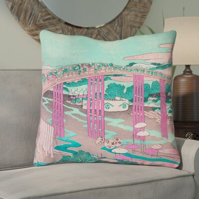 Enya Japanese Bridge Square Throw Pillow Color: Pink/Teal, Size: 16 x 16