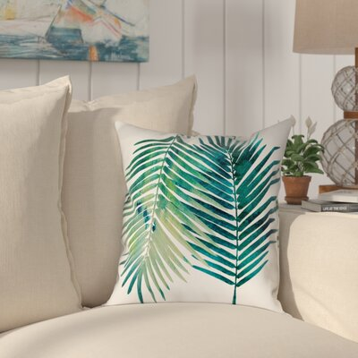 Ellicott Square Watercolor Teal Palms Outdoor Throw Pillow Size: 18 x 18