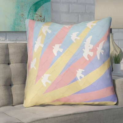 Enciso Birds and Sun Zipper Throw Pillow Size: 40 H x 40 W, Color: Yellow/Orange