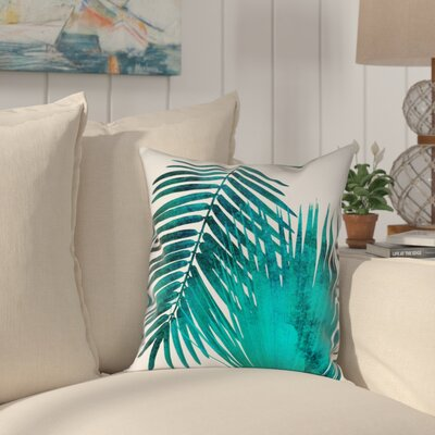 Ellicott Watercolor Teal Palms Outdoor Throw Pillow Size: 18 x 18