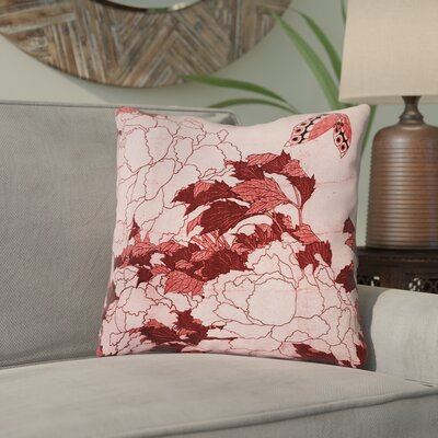 Clair Peonies and Butterfly Indoor Square Throw Pillow Size: 14 H x 14 W, Color: Red