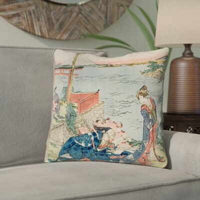 Enya Japanese Courtesan Throw Pillow with Concealed Zipper Size: 26 x 26