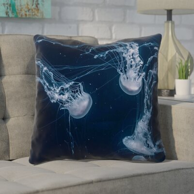 Nathaniel Blue Jellyfish Throw Pillow Size: 20 x 20