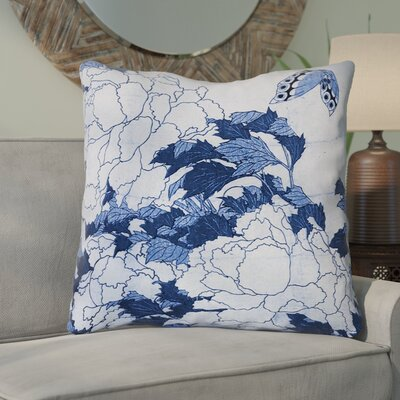 Clair Peonies and Butterfly Square Throw Pillow Size: 28 H x 28 W, Color: Blue